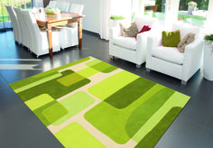 Modern rug with green figures