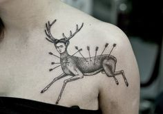"""Frida Kahlo tattoo, from """"The Wounded Deer"""", 1946 Frida Tattoo, Frida Kahlo Tattoos, Deer Tattoo, Raven Tattoo, Arm Tattoo, Time Tattoos, Body Art Tattoos, Cool Tattoos, Tatoos"""