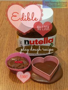 Toddler Approved Valentine's Day Crafts DIY edible no cook nutella play dough recipe no cook Valentines Day Activities, Valentine Day Crafts, Activities For Kids, Sensory Activities, Sensory Play, Valentine Party, Activity Ideas, Learning Activities, Toddler Fun