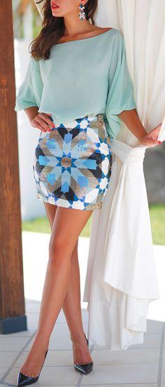Mint + Aztec skirt