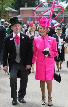 Royal Ascot - Edward Claridge wore a shocking pink cravat to match his wife Florence's outlandish outfit