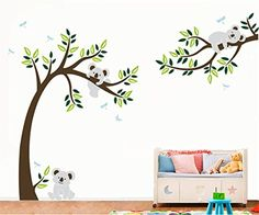 Yanqiao Wall Sticker Cute Koala And Tree Wall Decal With Dragonflies Koala Bear Wall Decal for Baby Nursery Kids Children Room -- Read more  at the image link. (Note:Amazon affiliate link)