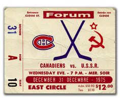 Ticket stub from NHL vs Russia series