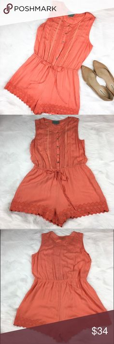 Stitch Fix Stars Are Blue Orange Romper Stitch Fix brand Skies Are Blue orange romper. Size medium. Approximate measurements flat laid are 31' long, 2' inseam, 14' drawstring waist (can be let in and out measurement take slightly pulled and tied) and 18' bust. GUC with no major flaws. Beautiful eyelet detail along bottom and lined bottoms. ❌No trades ❌ Modeling ❌No PayPal or off Posh transactions ❤️ I Bundles ❤️Reasonable Offers PLEASE ❤️ Skies Are Blue Dresses Mini