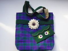 Medium Wool Tote Bag and Appliqued Clutch with Wool Flower Pin Accessory, Purple and Green Plaid Jewel Tones by Alfred Woolens