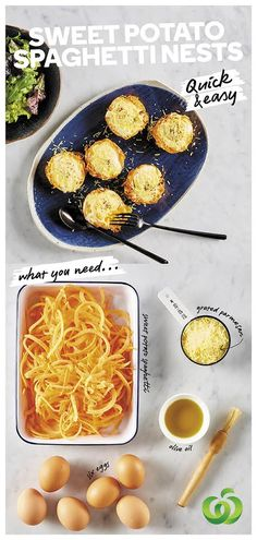 How to make quick & easy Sweet Potato Spaghetti Nests with Egg & Parmesan Cheese Vegetable Benefits, Vegetable Recipes, Vegetarian Recipes, Sweet Potato Recipes, Baby Food Recipes, Cooking Recipes, Egg Recipes For Breakfast, Food Inspiration, Food To Make
