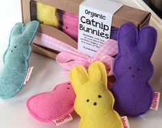 Organic Cat Toy Catnip Filled Pastel Bunnies
