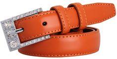 Mannice Women's Thin Fashion Waistband Genuine Leather Belt Rhinestone Buckle Brown