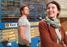 Sam Heughan and Caitriona Balfe see the sets for the first time, on September 23, 2013, about two weeks before the start of filming.