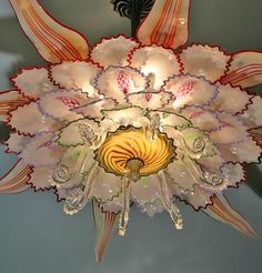Inspiration: DIY glass art from found glass. [Make lighting from vintage/etc found glass.] Hanging Lotus Art Glass Chandelier by Tim Lindemann dollars Chandeliers, Glass Chandelier, Chandelier Lighting, Glass Ceiling, Lamp Light, Light Up, Lotus Art, Murano, Bedroom Lamps
