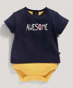 Boys Basics Awesome Motif Bodysuit - View All - Mamas & Papas Little Boy Outfits, Little Boys, Mamas And Papas, Nursery Furniture, Prams, Car Seats, Bodysuit, Onesie, Little Boys Clothes