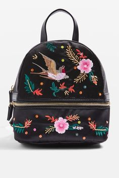 Satin Bird Embroidered Backpack - New In Fashion - New In - Topshop Europe Backpack Purse, Mini Backpack, Fashion Backpack, Tote Bag, Embroidery Bags, Classic Handbags, Insulated Lunch Bags, Cute Backpacks, Brown Bags