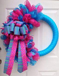 Spiral mesh wreath on Etsy, $60.00