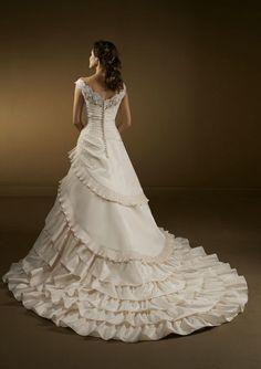 Cap Sleeves V Neck Appliques Chapel Train Ruched Elegant White Indian Wedding Dresses - AuBridal.com
