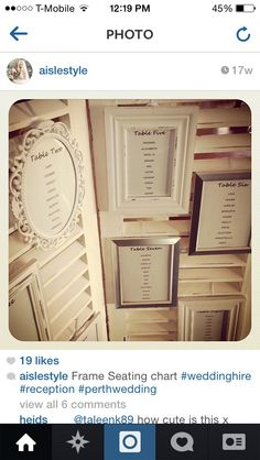 Escort card/seating chart