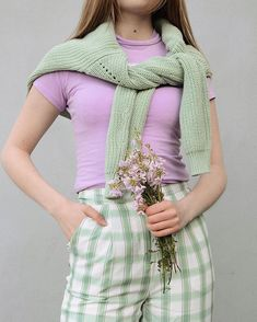 Pastel outfit idea. Mint green and purple Green And Purple, Mint Green, Pastel Outfit, Aesthetic Clothes, Grape Vines, Lilac, Fitness, Outfits, Fashion