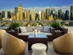 The city's skyline is on full display from this sleek rooftop lounge on the western edge of Hell's Kitchen. Here, you'll find no bachelorette parties, no DJs, no bridge-and-tunnel crowds: Instead, there are twinkling lights, fire pits, artisanal cocktails, and unobstructed panoramas to help you revel in big city beauty.