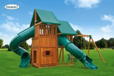 With two tent top canopies, two clubhouses and two spiral tube slides, the Sky #5 is double the fun! Plus, this backyard playset features a bottom playhouse, a feature the kids just love.