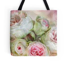 Rose Moods - Harmony designer tote bag featuring the floral art of Carol Cavalaris.