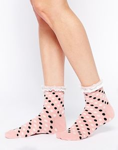 ASOS Spot Ankle Socks With Lace Trim