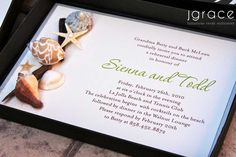 boxed invitation featuring an assortment of natural shells, driftwood slivers and sparkling sand - -perfect for a destination wedding by the sea.  by j grace