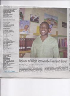 Welcome to William Kamwamba Library at Nanthomba becomes a newspaper feature #HELPchildren #Malawi #Africa #newspaper #library