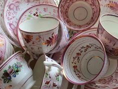 pink lusterware china
