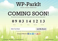 "WP-ParkIt WordPress Theme is a ""coming soon"" page WordPress theme from Solostream designed to create an attractive landing page you can display before launching your website"