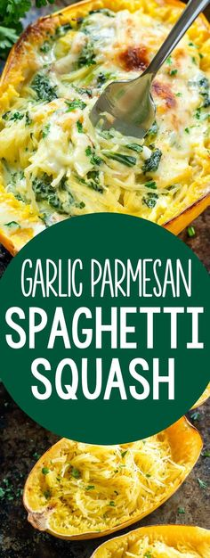 This crazy delicious garlic parmesan spinach stuffed spaghetti squash is one of the most popular recipes on my recipe bl Best Vegetarian Recipes, Vegetable Recipes, New Recipes, Dinner Recipes, Cooking Recipes, Healthy Recipes, Crockpot Recipes, Garlic Recipes, Most Popular Recipes