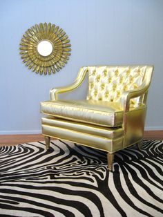 Vintage HOLLYWOOD REGENCY GLAM Button Tufted Gold by fabulousmess, $995.00