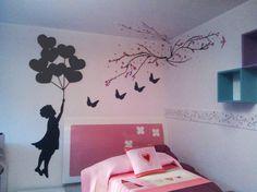 Pizarrón personalizado negro, niña con flores, mariposas de pizarrón negro; Ramas de cerezo en vinil