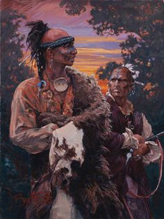 "John Buxton painting - Onondaga Speech Maker 12"" x 9"" oil"