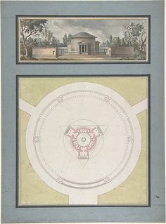Project for a Temple Dedicated to the Trinity, Elevation and Plan  Jean Nicolas Sobre  (French) ca. 1783.