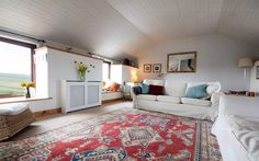 Holding House living room with engine house views. Cornwall