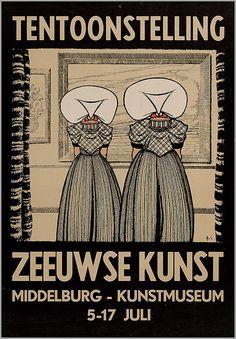 Tentoonsteling Zeeuwse Kunst in Middelburg. Kunstmuseum. 1950-1960 ontwerper/artdirector: S., J.C. van affiche #Zeeland #ZuidBeveland #protestant