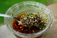 Balsamic chimichurri sauce - made this last night, everyone loved it.  Don't save it, use it and toss it.
