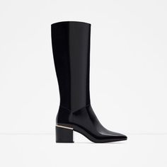 PATENT FINISH ANKLE BOOTS WITH HEEL DETAIL