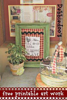 #Upcycle an old frame, use a #Free #printable, scrap material and make your own art work