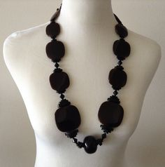 Reversible black/brown FINOCCHI ITALY Plastic (like bakelite) necklace.  SOLD!
