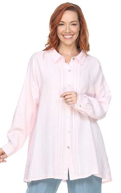 La Fixsun Linen Button Down Boyfriend Tunic with Pintucks oz Linen, Made in the USAcurrently available in white and light pink (as shown)Collared button down tunic with pintucks down either sidemother of pearl buttons are also a. Womens Linen Clothing, Mother Of Pearl Buttons, Pin Tucks, Button Downs, Collars, Boyfriend, Tunic Tops, Plus Size, Denim