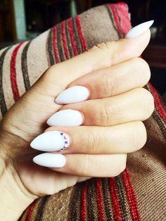 White Almond shaped nails. Acrylic nails❤️