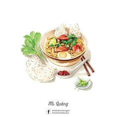 Vietnamese Food Illustrations on Behance Fruit Recipes, Dog Food Recipes, Cute Food Art, Chibi Food, Food Sketch, Watercolor Food, Japon Illustration, Food Painting, Vietnamese Recipes