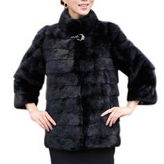Abrigo de invierno de Las Mujeres de Alto grado de Las Mujeres Elegantes Sólido Abrigo Manteau Femme Abrigo de Piel de Conejo Más Tamaño Ropa Exterior Femenina