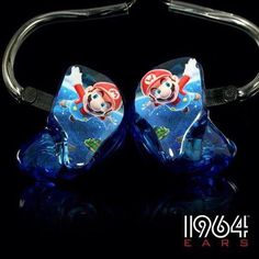Multi-color artwork on blue translucent shells In Ear Buds, Audiophile Headphones, Listening To Music, Audio Music, In Ear Monitors, Cool Tech, Music Stuff, Airsoft, Worship