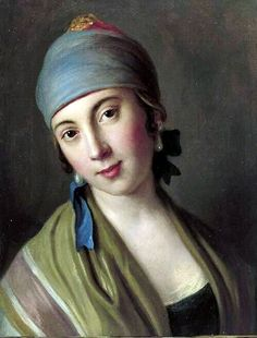 Portrait of a Woman with Blue Scarf and Striped Shawl.