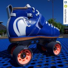 These custom @riedellroller  skates are to die for! @radarwheels  @victorianrollerderbyleague skater & @derbyrevolution  coach Serelson's new custom skate (yes that is a hand sewn white leather cobra @riedellroller ). Shaina picked up a set of the new Radar Halo wheels to elevate her game. The best is getting better. #radarhalo #radarwheels by suckerpunchskateshop