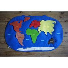 Felt map of the world