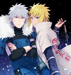 Tobirama & Minato. Two of the fastest shinobi in history. Love it!