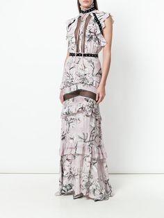 Shop Just Cavalli magnolia print long dress