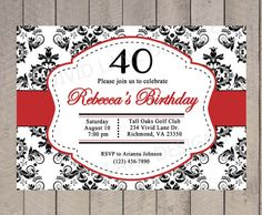 Adult Birthday Invitation Black White and Red by VividLaneDesigns